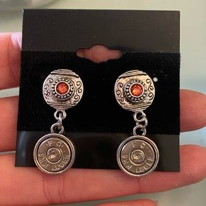 9mm Luger Earrings with Coral Swarovski Crystals